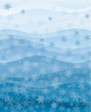 Snowflakes wallpaper. Vector snowflakes with waves blue wallpaper stock illustration