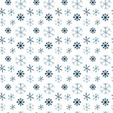 Large and small blue and blue snowflakes, watercolor pattern. vector illustration