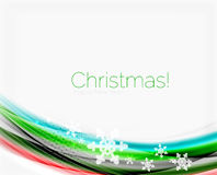 Snowflakes on wave line, Christmas and New Year background. Or greeting card Stock Photo