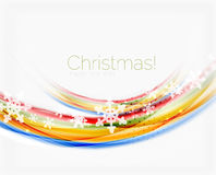 Snowflakes on wave line, Christmas and New Year background. Or greeting card Royalty Free Stock Photo