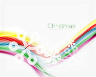 Snowflakes on wave line, Christmas and New Year background. Or greeting card Stock Images