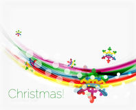 Snowflakes on wave line, Christmas and New Year background Stock Images