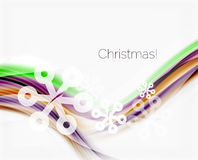 Snowflakes on wave line, Christmas and New Year background. Or greeting card Royalty Free Stock Photos