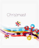 Snowflakes on wave line, Christmas and New Year background. Or greeting card Royalty Free Stock Image