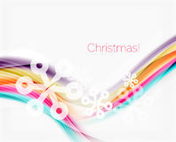 Snowflakes on wave line, Christmas and New Year background. Or greeting card Stock Photography