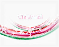 Snowflakes on wave line, Christmas and New Year background. Or greeting card Royalty Free Stock Photography