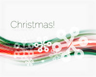 Snowflakes on wave line, Christmas and New Year background. Or greeting card Stock Image