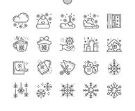 Snowflakes Well-crafted Pixel Perfect Vector Thin Line Icons 30 2x Grid for Web Graphics and Apps. Simple Minimal Pictogram Royalty Free Stock Photo