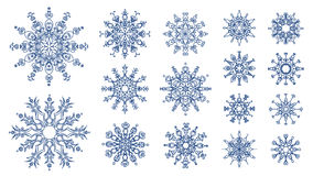 Snowflakes  on white background. 16 blue various snowflakes for your Christmas design Stock Photography