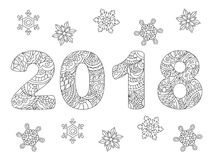 2018 and snowflakes on white Stock Image
