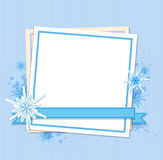 Snowflakes and white sheet of paper Stock Images