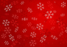 Snowflakes from white to dark red. On red background Royalty Free Stock Image