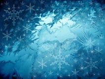 Snowflakes on window stock photos