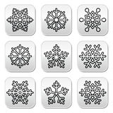 Snowflakes, winter black and white buttons set Royalty Free Stock Photo