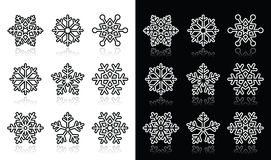 Snowflakes, winter black and white icons set Stock Photo