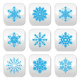Snowflakes, winter blue  buttons set Royalty Free Stock Photo