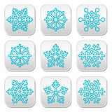 Snowflakes, winter blue decoration buttons set Stock Photos