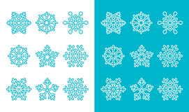 Snowflakes, winter blue decoration icons set Royalty Free Stock Photos