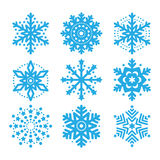 Snowflakes, winter blue  icons set Stock Photography