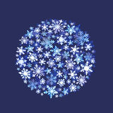 Snowflakes. Winter circle background. Watercolor Stock Photography