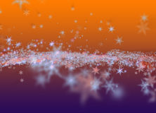 Snowflakes winter field cloud background. Happy new year, Christmas theme blurred bokeh Royalty Free Stock Images
