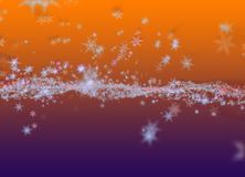 Snowflakes winter field cloud background. Happy new year, Christmas theme blurred bokeh Stock Image