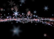 Snowflakes winter field cloud background. Happy new year, Christmas theme blurred bokeh Royalty Free Stock Photography