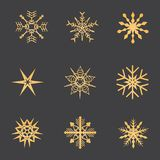 Snowflakes gold. Christmas and New Year. stock images