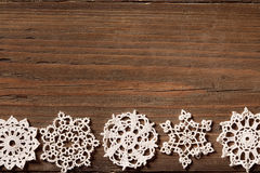 Snowflakes Wood Background, Christmas Lace Snow Flakes, Wooden Stock Photography