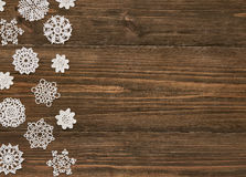 Snowflakes Wood Background, Christmas Snow Flake Lace Decoration Stock Image
