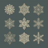 Snowflakeuppsättning Stock Illustrationer
