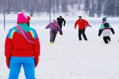 Snowfootball在芬兰 库存图片