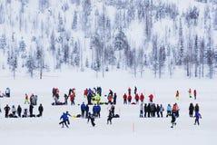 Snowfootball在芬兰 免版税库存照片