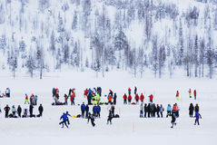 Snowfootball in Finland royalty-vrije stock foto