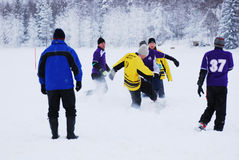 Snowfootball in Finnland Stockbild