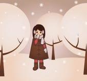 Snowgirl i skogen royaltyfri illustrationer