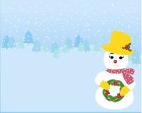 Snowgirl nei precedenti di inverno Immagine Stock