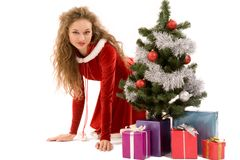 Snowgirl with presents Stock Photography