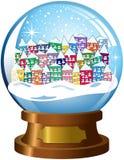 Snowglobe斯诺伊村庄被隔绝的冬天场面 免版税图库摄影
