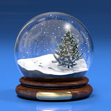 Snowglobe. A computer generated image of a snowglobe with a fir tree Royalty Free Stock Images