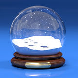 Snowglobe. A computer generated image of a snowglobe with footprints Royalty Free Stock Photos