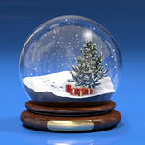Snowglobe. A computer generated image of a snowglobe with a fir tree and gift boxes Royalty Free Stock Photo
