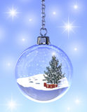 Snowglobe. A computer generated image of a snowglobe with a fir tree and gift boxes royalty free illustration