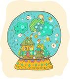 Snowglobe avec la ville décorée de Noël Photos libres de droits