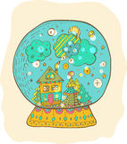 Snowglobe com a cidade decorada do xmas Fotos de Stock Royalty Free