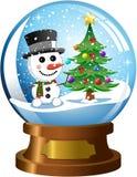 Snowglobe con el muñeco de nieve y el árbol de navidad Imagenes de archivo