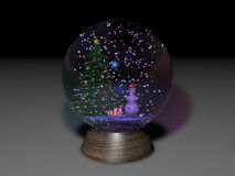 Snowglobe. The 3-D model of snowglobe, contains christmas tree, snowman and present with a lot of snow Stock Photography