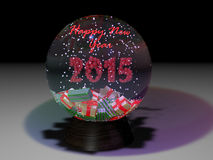Snowglobe. The 3-D model of snowglobe, decorated with new year attributes Stock Photos