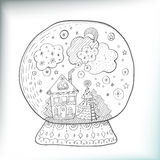 Snowglobe with decorated xmas town Royalty Free Stock Images