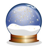 Snowglobe with golden stars Royalty Free Stock Image